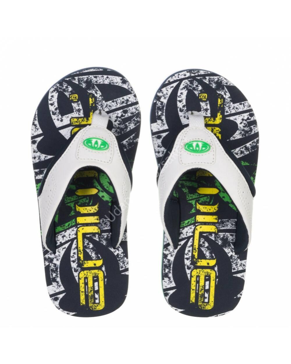 Animal Jekyl flip-flop papucs gyerekeknek, fekete-fehér-zöld