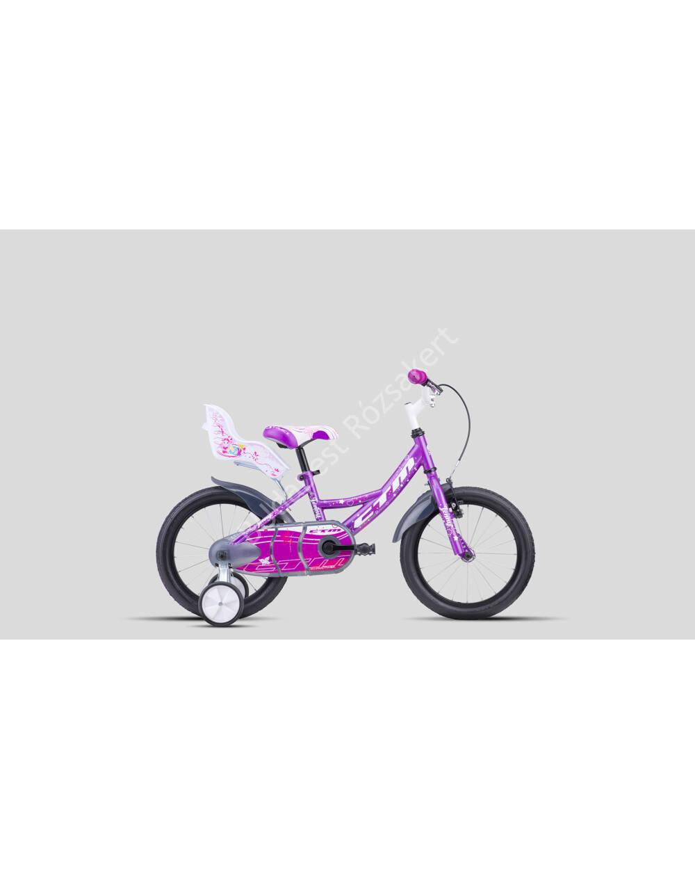 """CTM 16"""" gyermek kerékpár Jenny lila/fehér, 9,1 kg"""