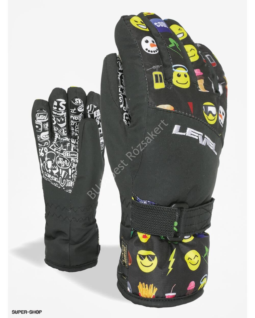 Level Glove Junior Dark gyerek síkesztyű, fekete mintás, 5-6 éves