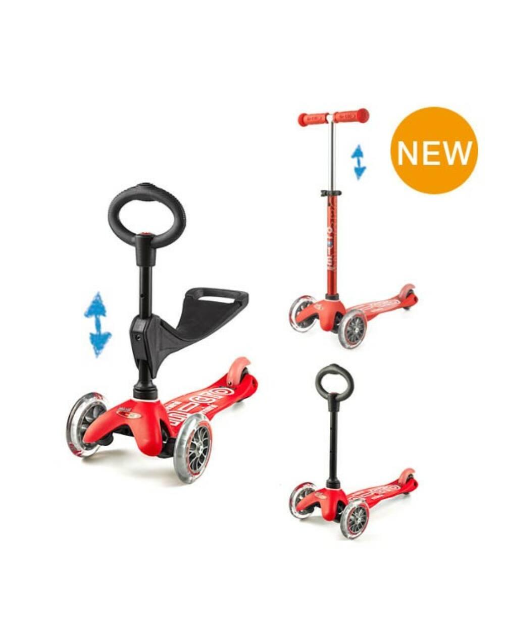 3in1 Mini Micro Deluxe roller, piros-rózsaszín felirattal