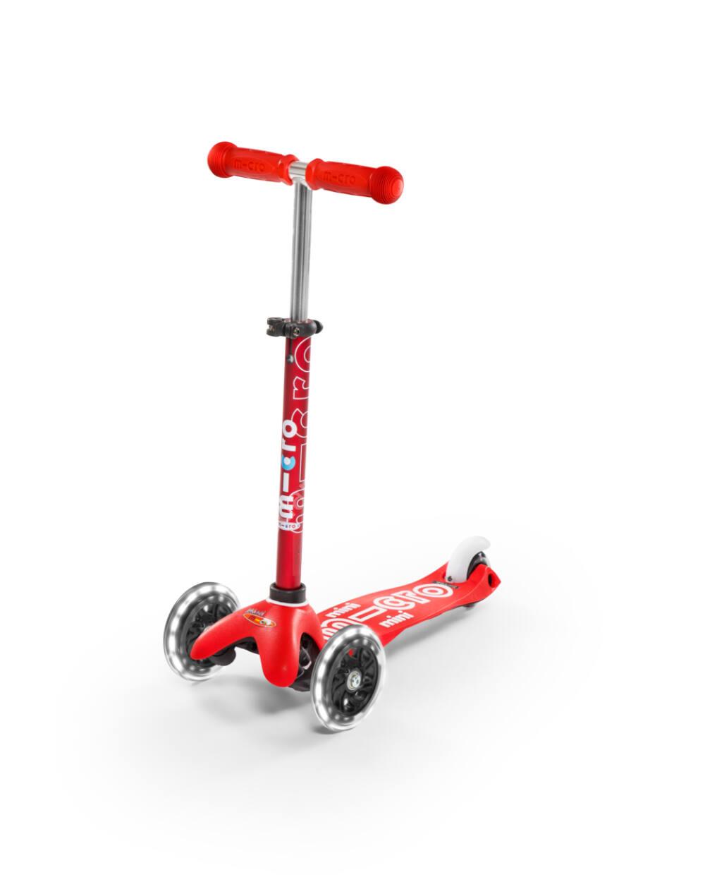 Mini Micro Deluxe LED roller világító kerékkel, piros