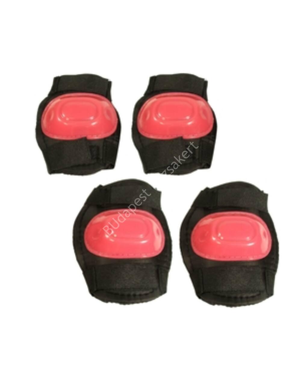 Térd-, és könyökvédő, fekete-pink, L