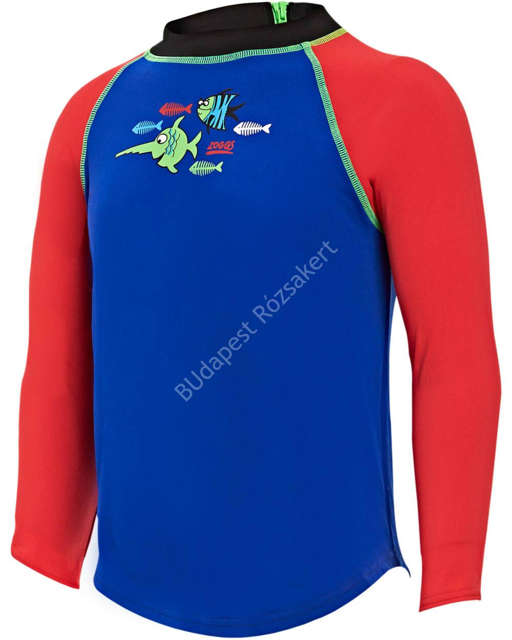 Zoggs Sea Saw Zip póló UV-sugárzás ellen, kék-piros