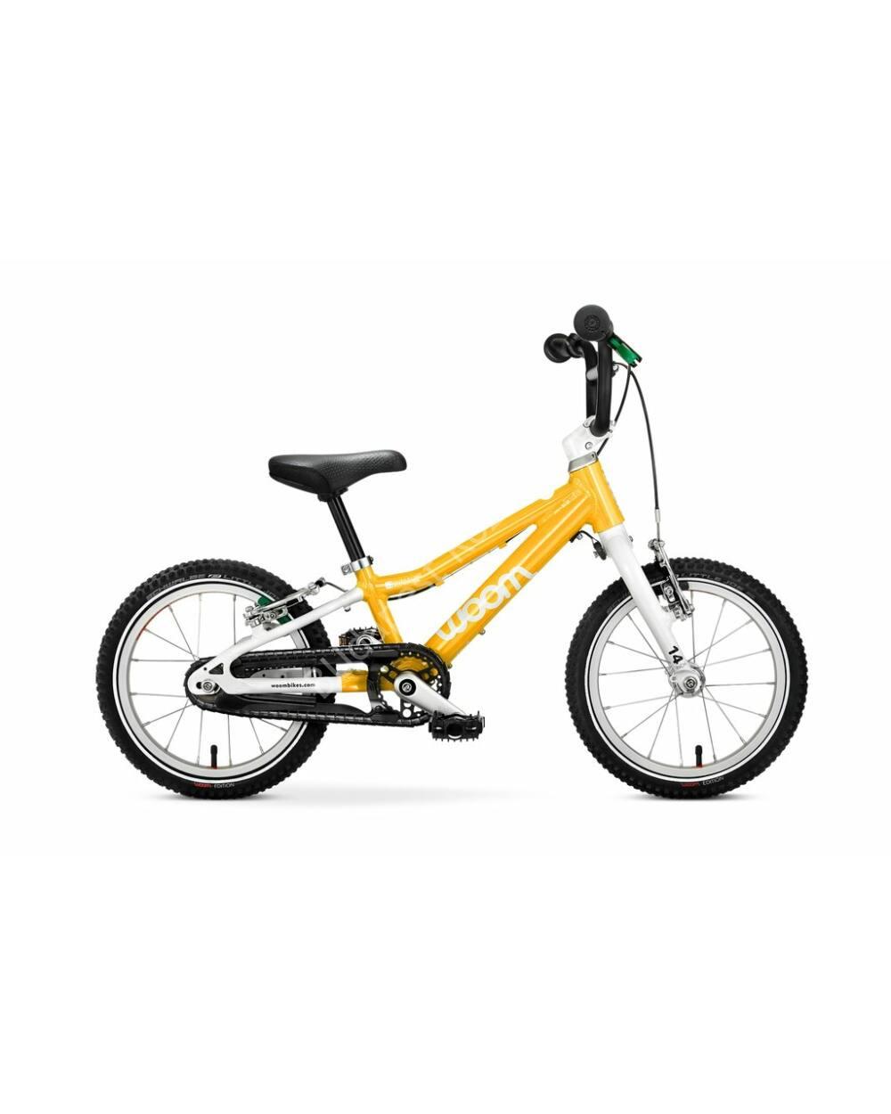 "Woom 2 sárga 14"" gyerek kerékpár, 95-110 cm testmagasság, 5.1 kg"