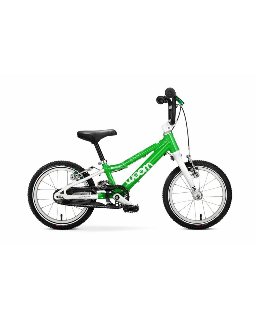 "Woom 2 zöld 14"" gyerek kerékpár, 95-110 cm testmagasság, 5.1 kg"