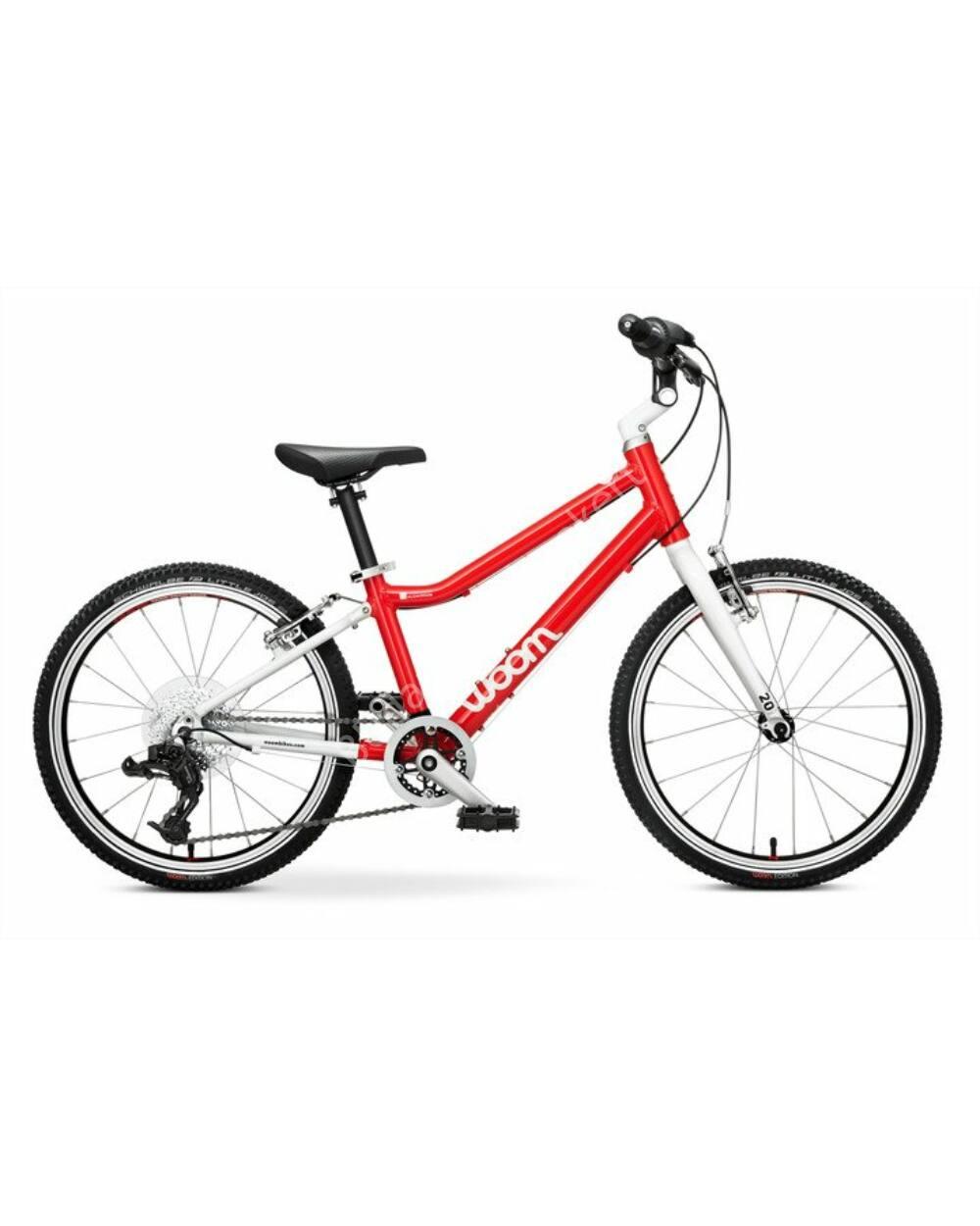 Woom 4 piros 20 gyerek kerékpár, 115-130 cm testmagasság, 7.3kg