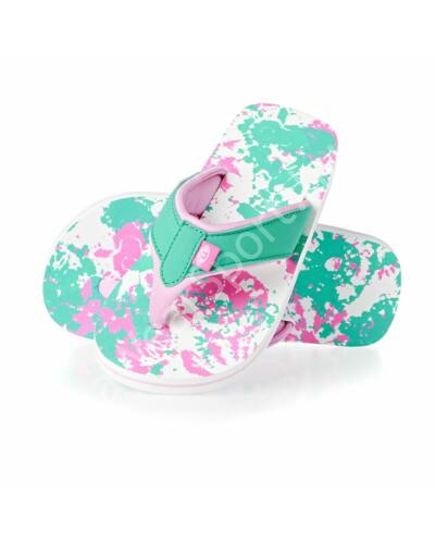 Animal flip-flop papucs lányoknak, fehér alapon rózsaszín-zöld mintákkal
